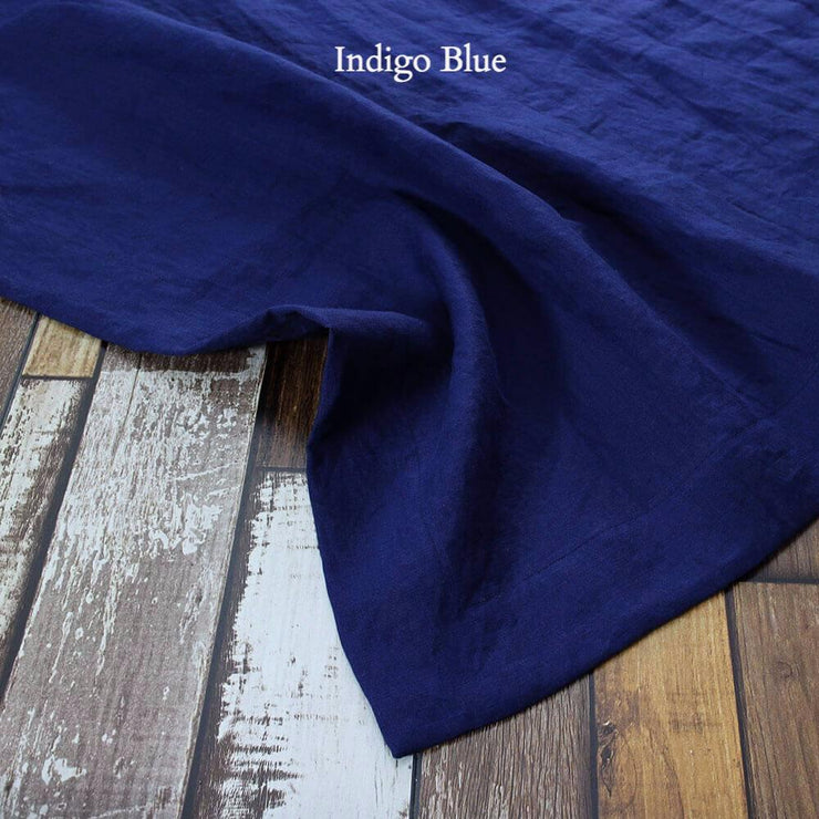Mitered border Linen Table Runner Indigo Blue
