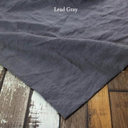Mitered border Linen Table Runner Lead Gray