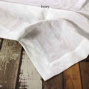 Mitered border Linen Table Runner Ivory