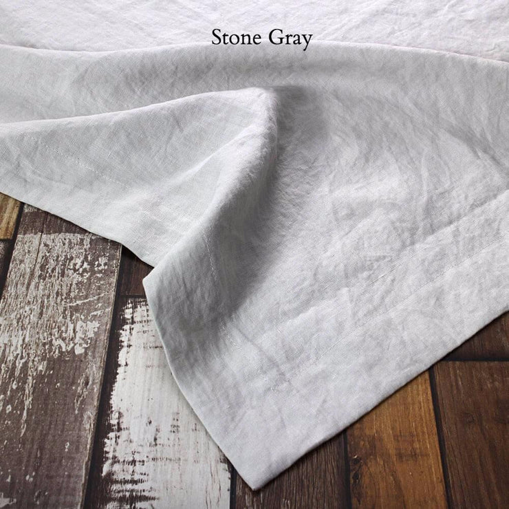 Mitered border Linen Table Runner Stone Gray