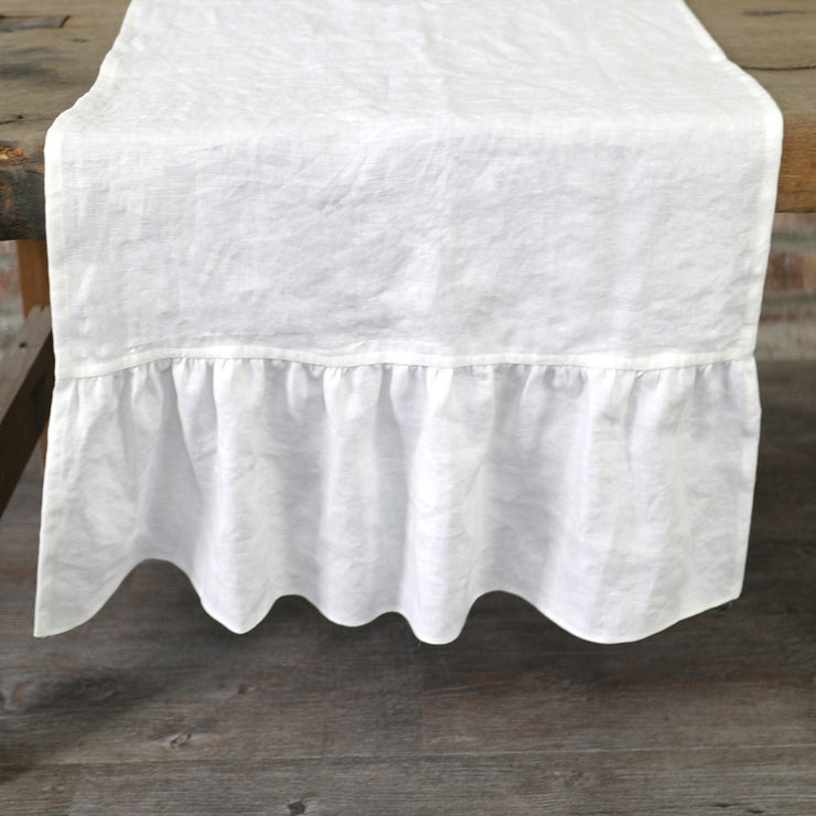 100% Pure Washed Linen Ruffles Table Runner