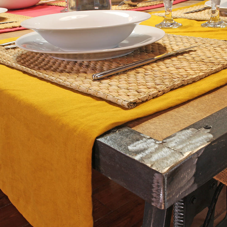 Mitered border 100% Linen Table Runner Mustard