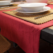 Mitered border 100% Linen Table Runner Tomato Red