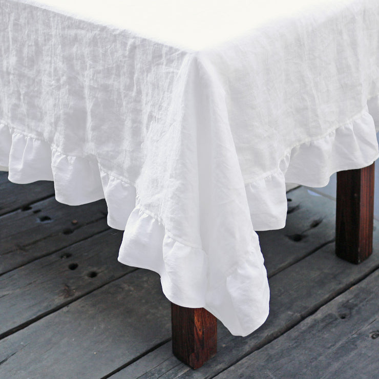 100% Pure Washed Linen Fabric Ruffles Table Clothes