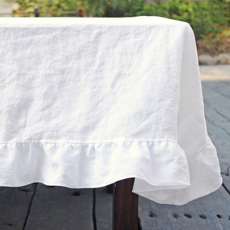 Ruffled White Linen Tablecloth