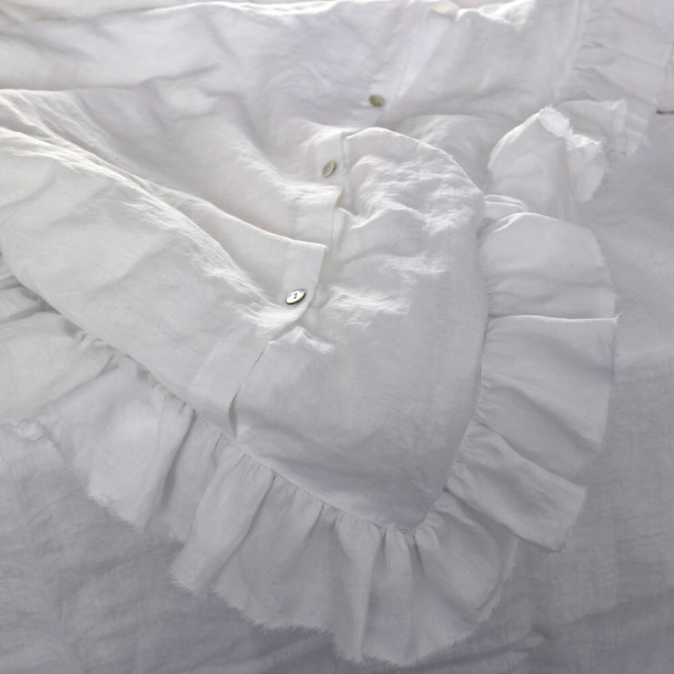 Frayed Ruffles Linen Duvet Cover With Button Closure