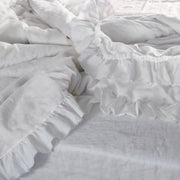 Pure Linen Romantic Duvet Cover with Frayed Ruffles