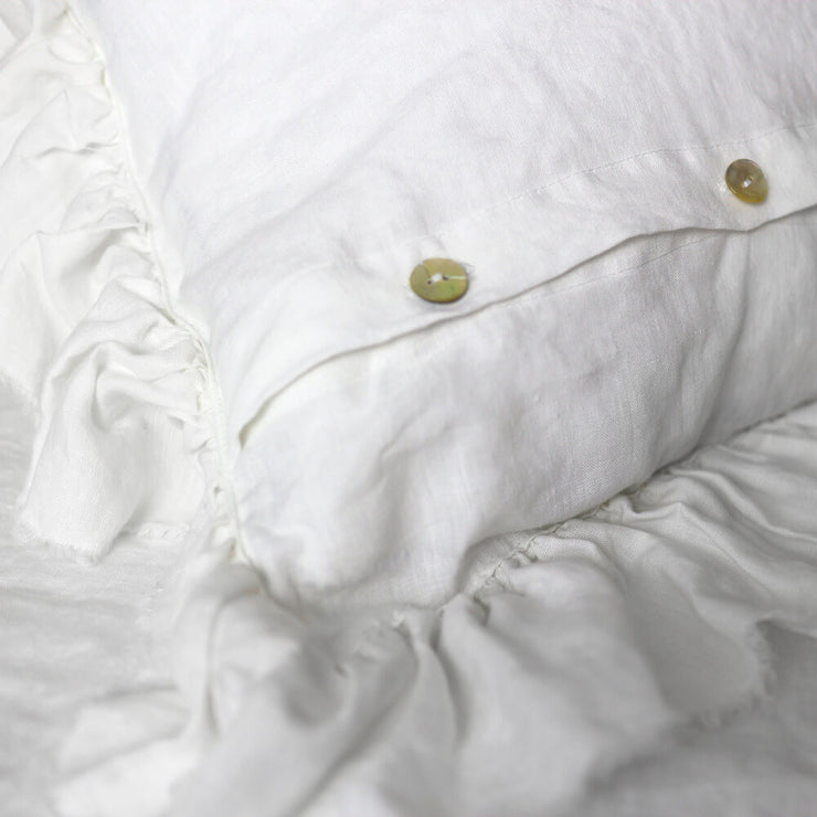 Button Closure For Pure Linen Romantic Pillowcases set with Frayed Edges
