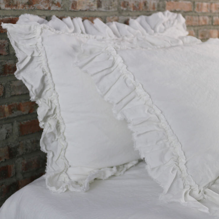 Torn Edges Ruffled Linen Pillow Cases