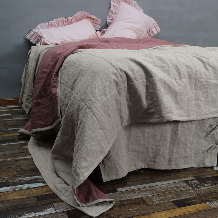 Two Tones Quilted Bedspread Natural/Brick