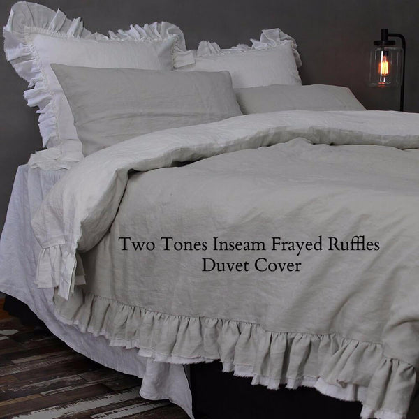 Two Tones inseam Frayed Ruffles Duvet Cover - Linenshed