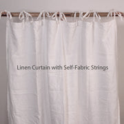 Side Ruffles Linen Window Curtain with Bourdon Edge (rect. custom size)