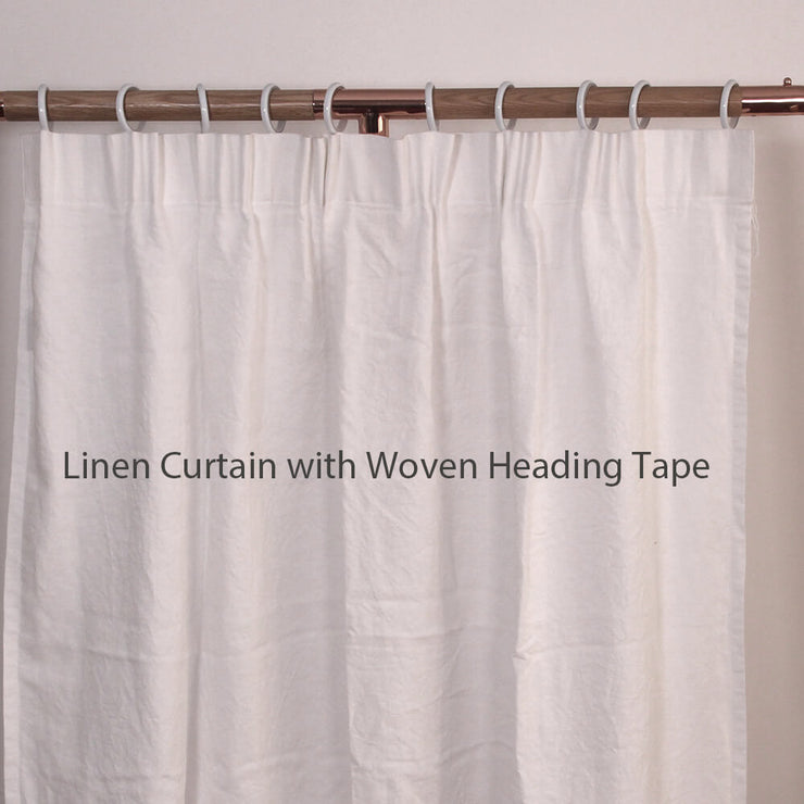 Side Ruffles Linen Window Curtain with Turn Seam Edge