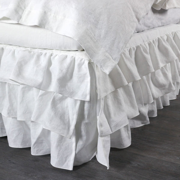 bedskirt suitable for bedposts customizable to any size luxury bedding linenshed. Black Bedroom Furniture Sets. Home Design Ideas