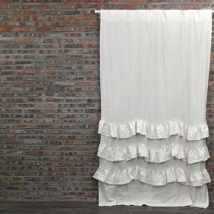 Waterfall Washed Linen Window Curtains Ivory