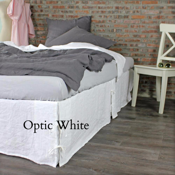 Knotted Bed Skirt Optic White