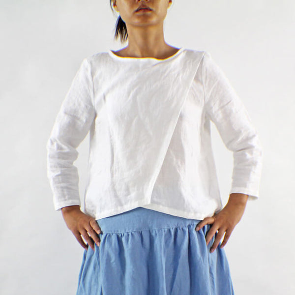 Linen Wrap Blouse Wide Boatneck Top