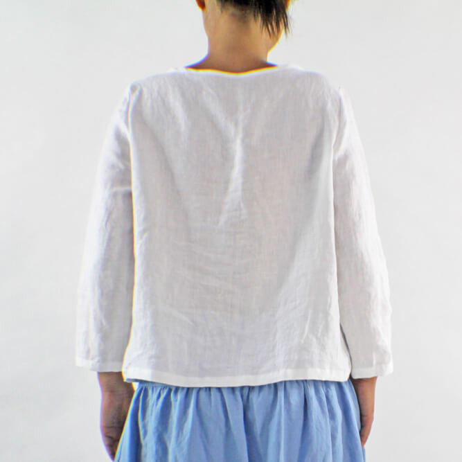 Detail Back Of White Linen Wrap Blouse - Linenshed