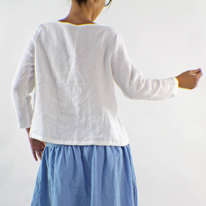 3/4 Length Sleeves White Linen Blouse - Linenshed