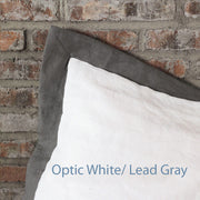 French Color Border Linen Pillowcases set OpticWhite/Lead Gray