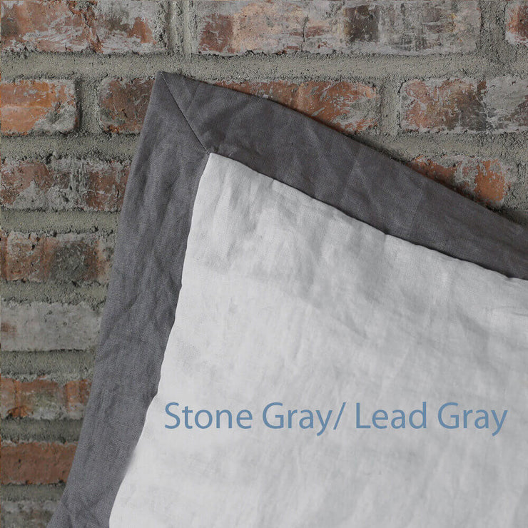 French Color Border Linen Pillowcases set Stone Gray/ Lead Gray