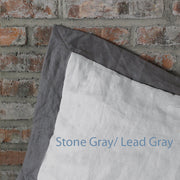 French color Border Duvet Cover Stone Gray/ Lead Gray