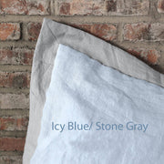 French Color Border Linen Pillowcases set Icy Blue/Stone Gray