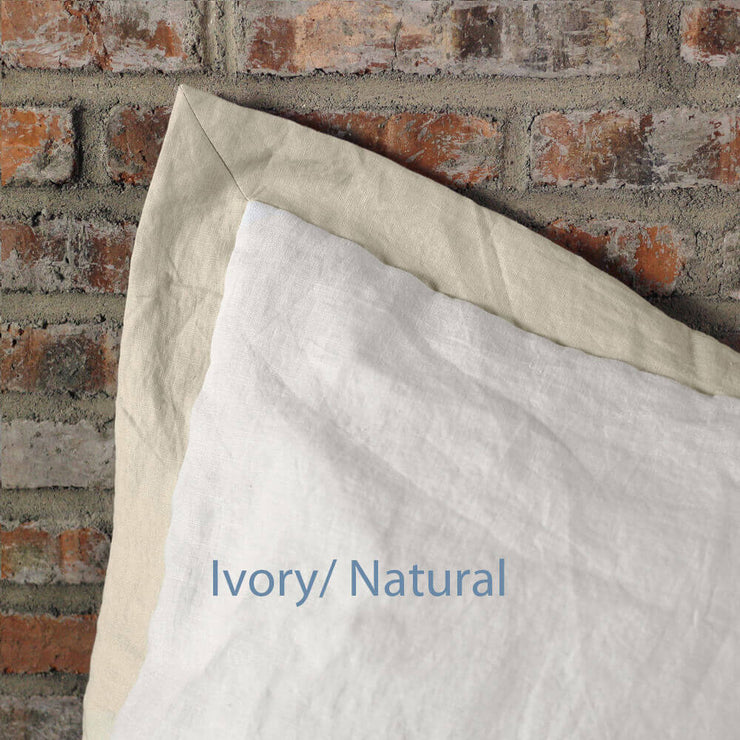 French Color Border Linen Pillowcases set Ivory/ Natural
