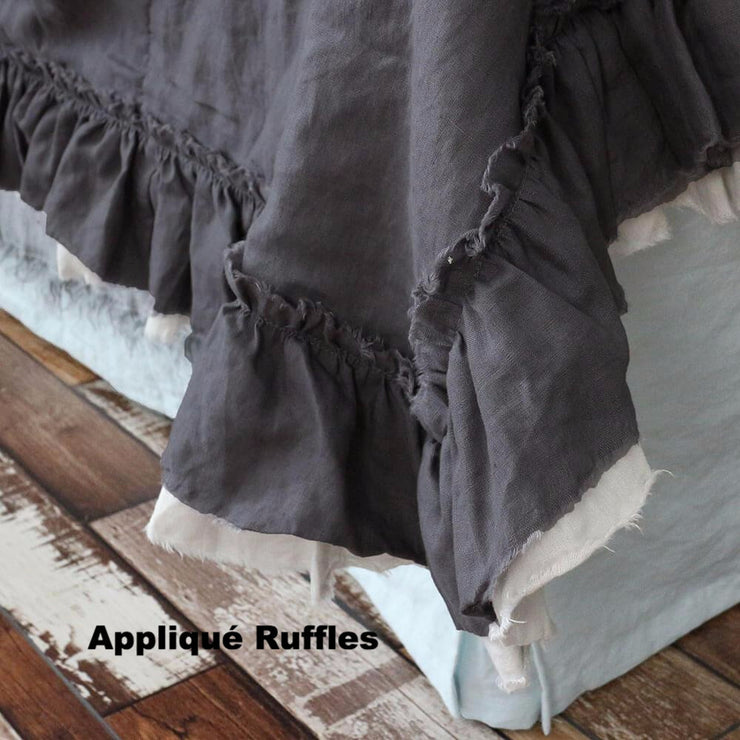 Two Layers Linen Bedspread with appliqué ruffles