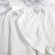 Ruffled Linen Sheet White
