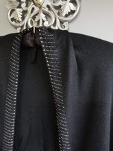 Load image into Gallery viewer, Luxury black poncho cape with tassles & diamante details