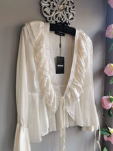 Load image into Gallery viewer, SALE only £20! Stylish white satin frill wrap blouse