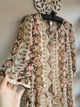 Load image into Gallery viewer, SALE WAS £32... Aztec kaftan in beige brown & dusty pink with tassles