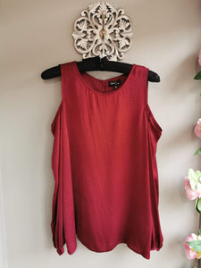 SALE NOW £10...Cherry red satin style long sleeve top with cold shoulder detail