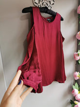 Load image into Gallery viewer, SALE NOW £10...Cherry red satin style long sleeve top with cold shoulder detail