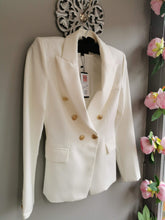 Load image into Gallery viewer, SALE WAS £58....Stylish smart white jacket with double breast 80s look