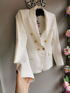 SALE WAS £58....Stylish smart white jacket with double breast 80s look