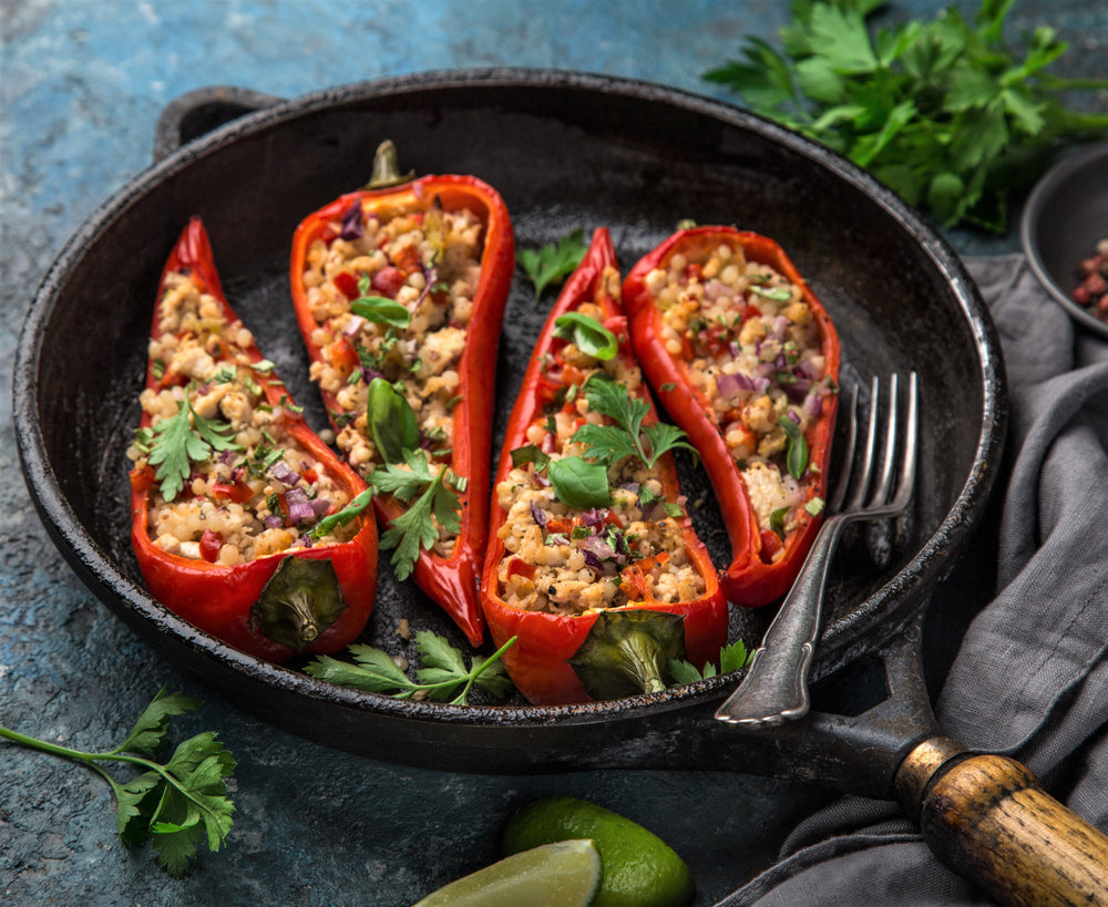 Meaty Maftoul Stuffed Peppers