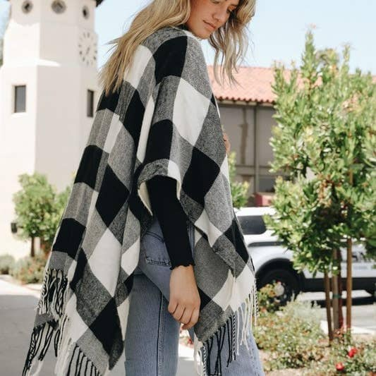 Buffalo Plaid ruana poncho