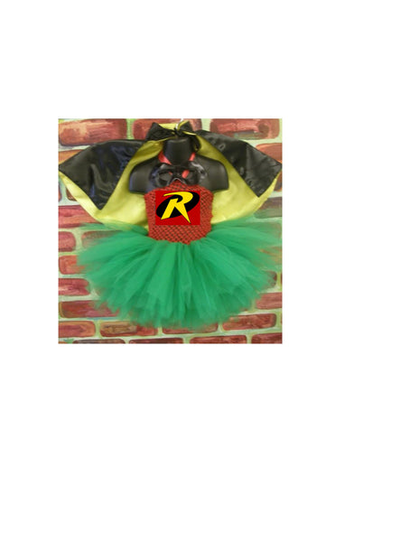Robin crochet tutu dress  costume complete, robin and batman