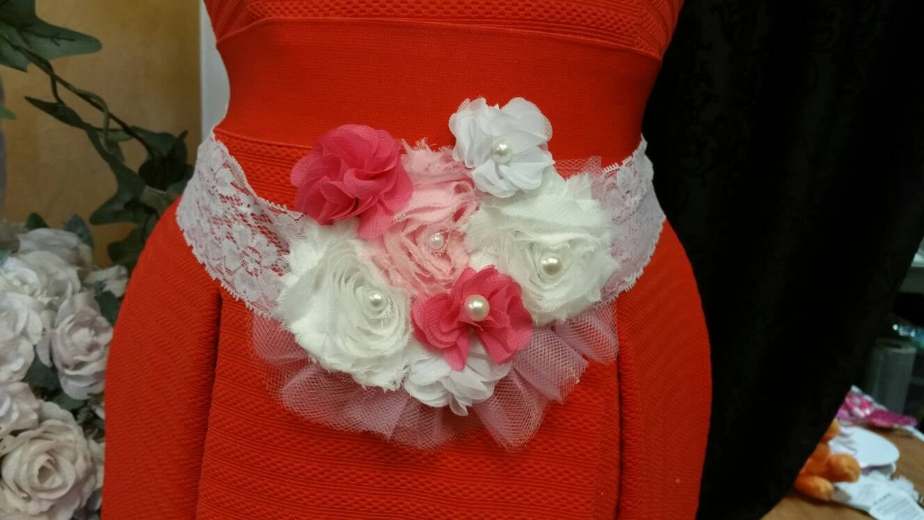 Pink baby shower shower corsage, chic baby shower sash, belly baby shower sash, baby shower belly belt