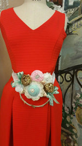 Vintage baby shower belly corsage, mint and pink baby shower corsage, belly baby shower sash, baby shower belly belt