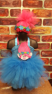 Poppy troll tutu dress, troll birthday party, troll costume, poppy costume, poppy wig