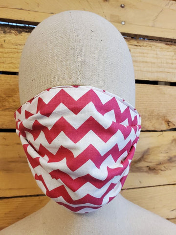 Adult pink chevron face mask with slot for filter