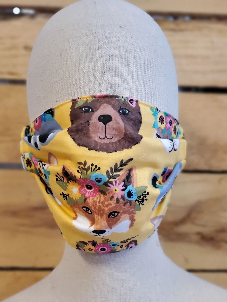 Adult woodland friends face mask with slot for filter