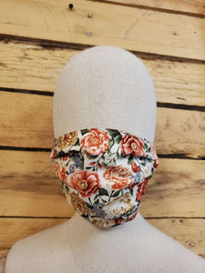 Adult neutral floral fave mask with slot for filter