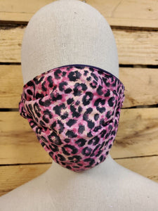 Hot pink cheetah Adult face mask with slot for filter