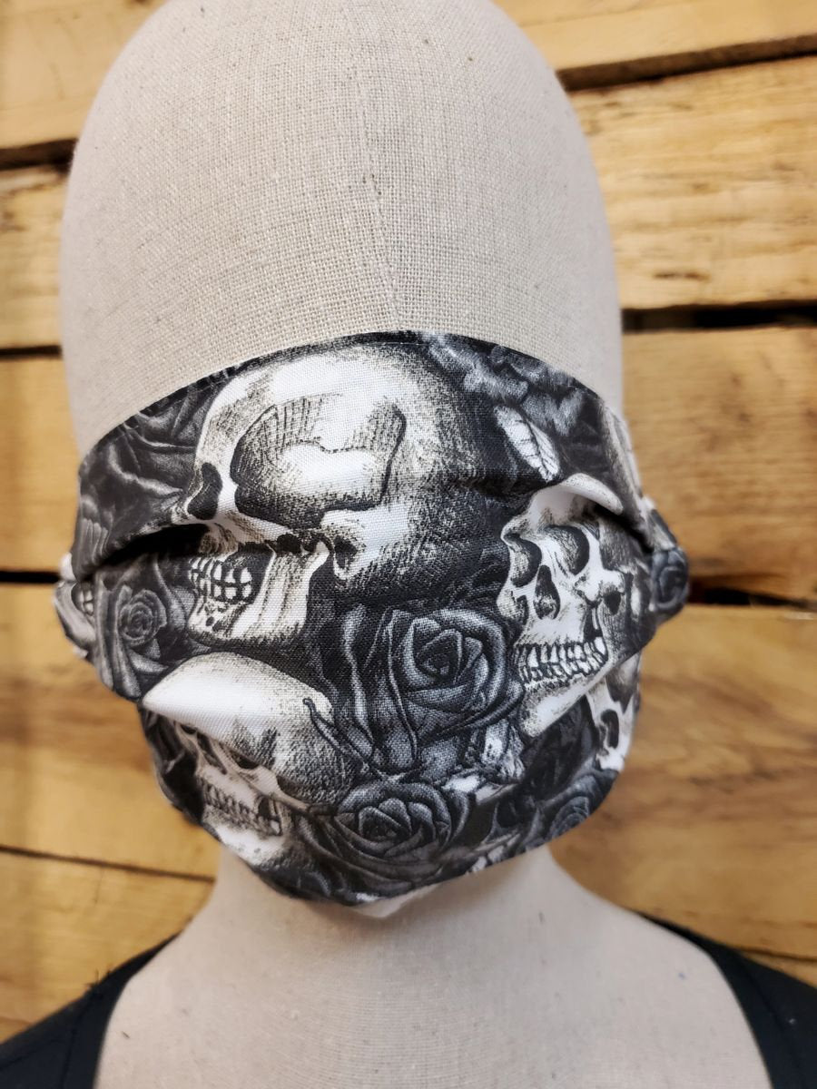 Roses and skulls face mask with slot for filter