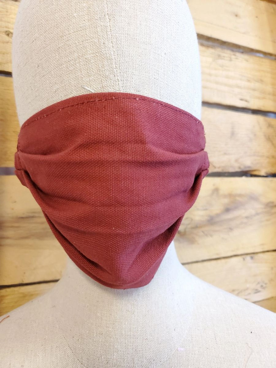 Adult burgandy face mask with slot for filter