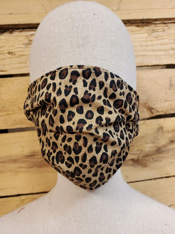 Adult cheetah face mask with slot for filter